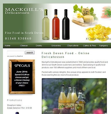 Eccomerce website for Mackgill's Deli