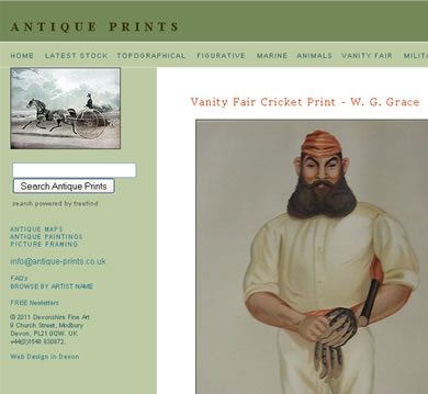 Extensive e commerce  website design - Antique Prints
