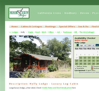 Holiday Website - Log Cabin Holidays in South Devon