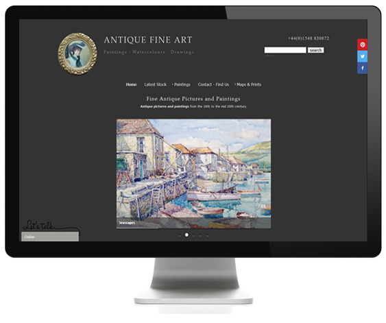 Antiques ecommerce web design